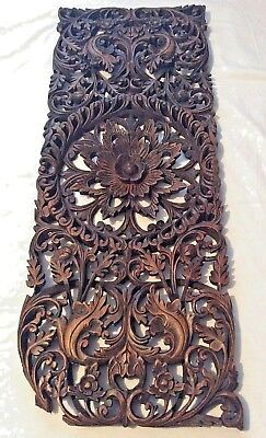"""antique style hand carved & waxed long wooden panel- floral design 35"""""""