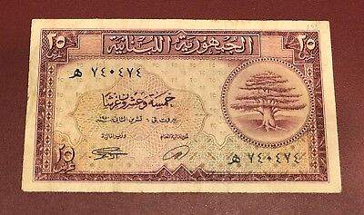 Bank Lebanon & Syria 25 Piasters 1950 French Colony Bank Note Rare Date