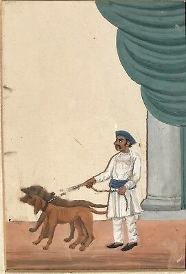 19th Century Indian Painting on Mica - Man With Hounds