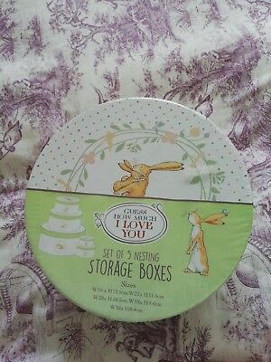 Guess How Much I Love You , Set Of 5 Round Storage Boxes