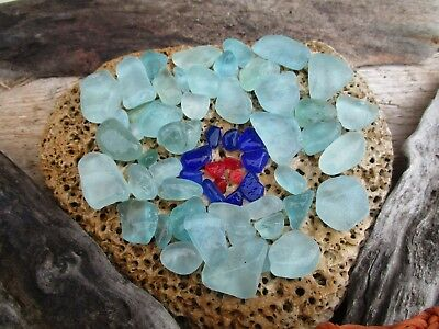 Seaham Sea Glass - Crafty People You'll Love This Fab  Aqua / Colbalt / Red Mix