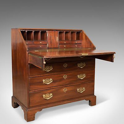 Antique Bureau, Mahogany, English, Georgian, Generous Desk Space, Circa 1800
