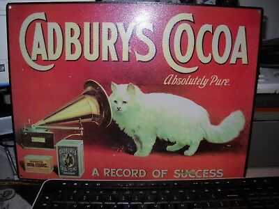 Authentic Metal Reproduction Trade Sign For Cadburys Cocoa Good Condition