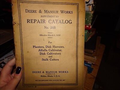 1936 John Deere & Mansur Works Repair Catalog 20B With Part List Moline Illinois