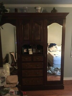 Victorian Armoire Burly solid wood Knockdown 5 Piece dove tail wardrobe disassem