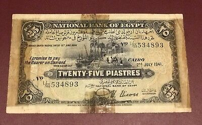 Egypte 25 Piasters 1941 Cairo Bank Note Rare Date