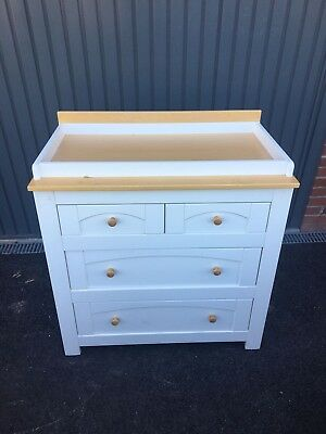 Izziwotnot white and Wood Baby Changing Dresser Station Unit Table rrp £350