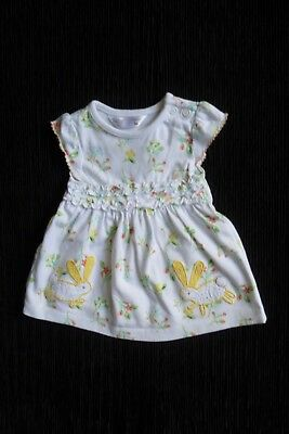 Baby clothes GIRL newborn 0-1m white floral, rabbits soft cotton dress SEE SHOP!