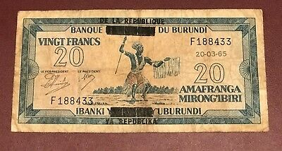 République Du Burundi 20 Franc 1965 Bank Note Rare Overprint