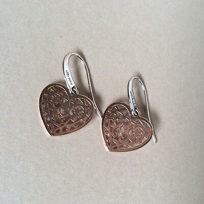 Beautiful Rose Gold And Sterling Silver Links Of London Tapestry Heart Earrings