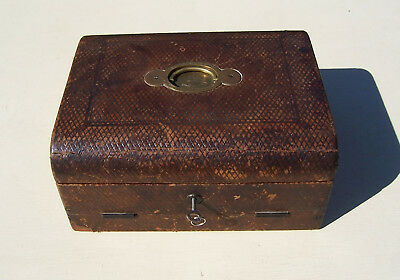 Victorian Antique Leather Wooden Stationery/Document Box with Writing Slope IS