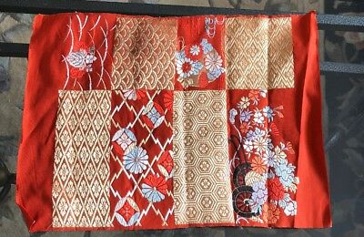 Vintage Japanese Silk Obi Left Over Woven Fabric Real Gold Thread