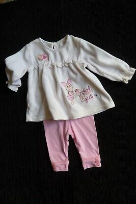 Baby clothes GIRL 0-3m Disney Piglet outfit pink velour dress/mid-pink leggings