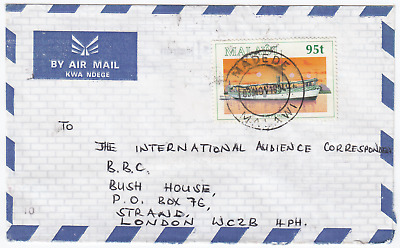 L1089 Malawi commercial air cover to UK, 1994. Solo The Pioneer 95t stamp