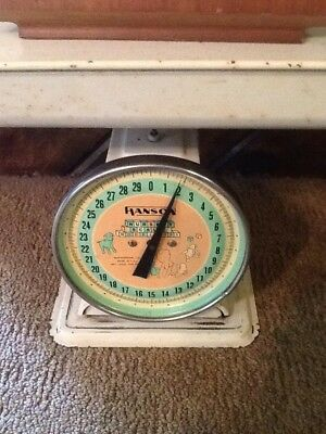 Vintage Hanson Nursery Baby Scale 3025 30 lbs Removable Tray White Pink Blue Box