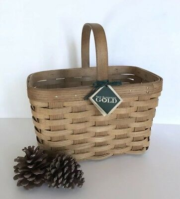 Vintage Hand Woven ASHWOOD Basket with Handle Made in New Hampshire ~ Primitive
