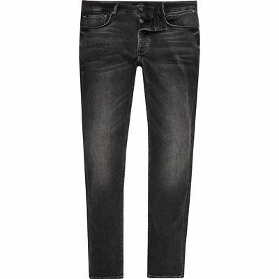 River Island Black Faded Skinny Sid Jeans Brand New with Tags Free P&P