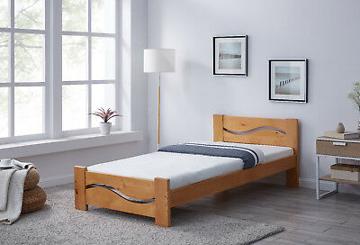 Wooden Bed Frame Wave Design Cutout Single Double King Size Bedroom Brand New