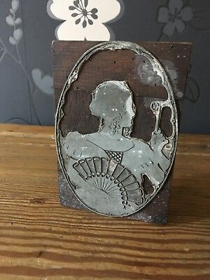 Antique Printing Block Of Victorian Lady