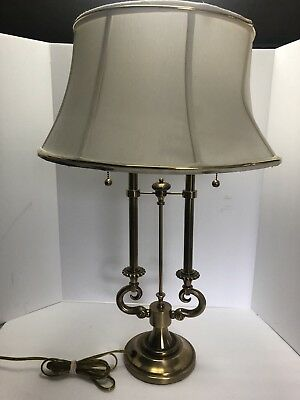 Nice Stiffel French Bouillotte Table Lamp Brass Double Socket w Shade