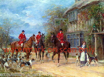 c1890~British Hunt~Horses~Stop at the Inn~ Hound Dog Dogs~NEW Large Note Cards