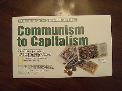 National Geographic Map Soviet Economic Evolution Communism to Capitalism 1993