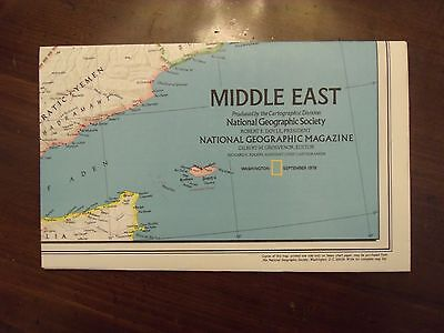 National Geographic Map Middle East  September 1978