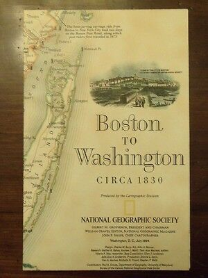 National Geographic Map Boston To Washington Circa 1830 July 1994