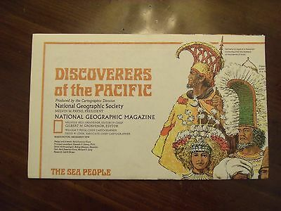National Geographic MAP Discoverers Of The Pacific Islands Sea People Dec 1974