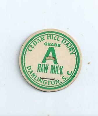 """Cedar Hill Dairy""  Darlington, S.C. milk bottle cap."