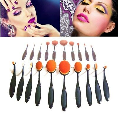 10PC Makeup Brush Professional Oval Cream Set Kabuki Cosmetic Eyeshadow Brushes