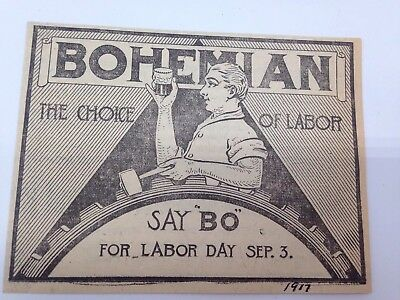 Antique Pre Pro Providence Brewing Co. Bohemian Beer Labor Day Ad Rhode Island