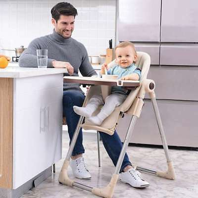 New Baby Child Highchair Feeding Chair Compact High Chair Soft Leather Foldable
