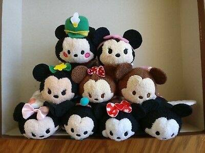 New Disney Store Mickey Minnie Birthday Valentine Christmas Tsum Tsum - Set of 9