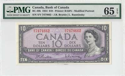 1954 BANK OF CANADA QEII $10 **Sig. Rasminsky** ~Consec 1 of 3~ (( PMG 65 EPQ ))