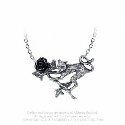 ALCHEMY ENGLAND Gothic Steampunk Rose & Cat Pendant Chain NECKLACE Rosenkatze
