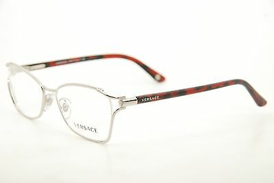 c8eb8453da4ef New Authentic Versace 1208 1000 Silver Red Black 52mm Frames Eyeglasses RX  Italy