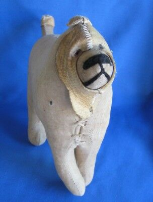 Vintage Very old Cloth Straw Stuffed Dog with Leather Head Piece