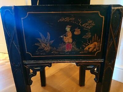 Antique Japan Lacquered Sewing Box on Legs