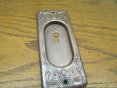 Old Brass ? Bronze ? Pocket Door Backplate..door Plate...escutcheon..nice Ornate