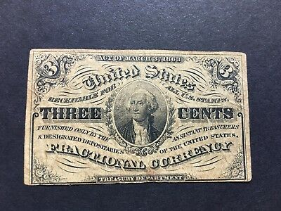Act Of 1863 Three Cents 3¢ U.s. Fractional Postage Currency Third Issue