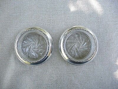 Vintage Pair of AMSTON GLASS COASTERS with Sterling Silver Rims