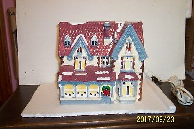 CHATEAU _ 50849_ Dept. 56 Snow Vill , W light & cord, very clean, BRIGHT COLORS
