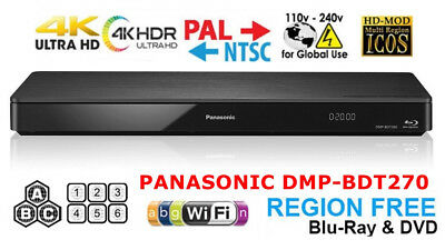 Panasonic DMP-BDT270 Region Free DVD and Zone ABC Blu Ray Player 100-240 Volts