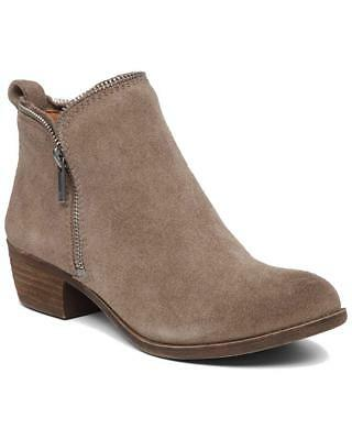 Lucky Brand Women's Bartalino Dual Side Zip Leather Ankle Boots Brindle