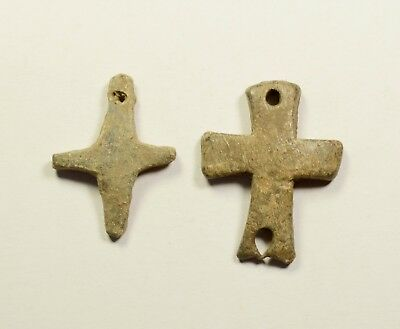 Interesting Byzantine Period Lead Cross - Religious Artifact - Lot Of 2