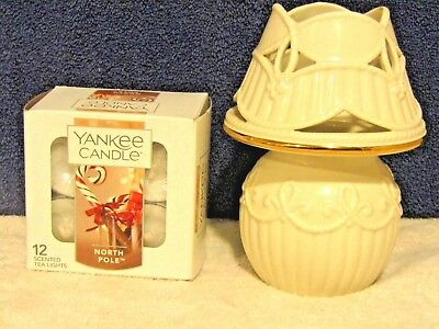 NEW Lenox Candle Lamp & Yankee Candle NORTH POLE tealights