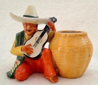 Vtg Retro Glazed Mexican Male Figurine Planter Vase Sombrero Colorful