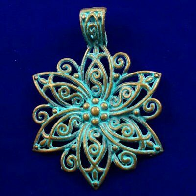 Carved Brass Bronze Flower Pendant Bead 64x49x2mm L82151