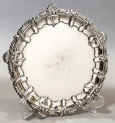 Antique Sheffield silver plate card tray Chippendale shell fluted border ornate
